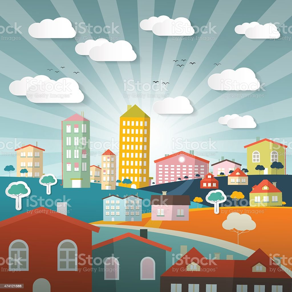 Vector Landscape Town or City vector art illustration