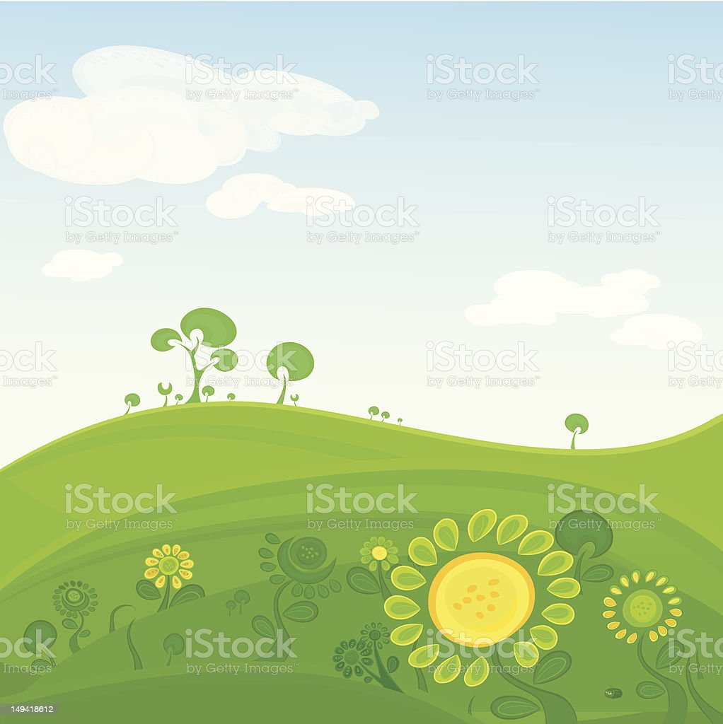 Vector landscape with flowers royalty-free stock vector art