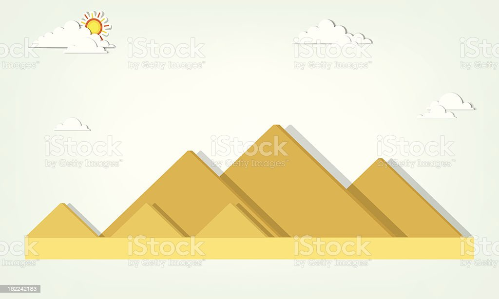 vector landscape with the Egyptian pyramids vector art illustration