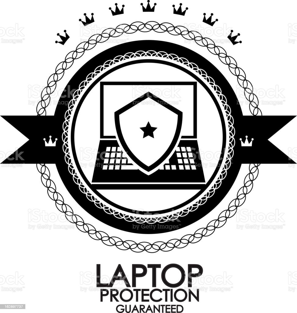 Vector laptop protection label royalty-free stock vector art