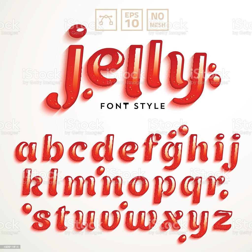 Vector latin alphabet made of strawberry jelly. Font style. vector art illustration