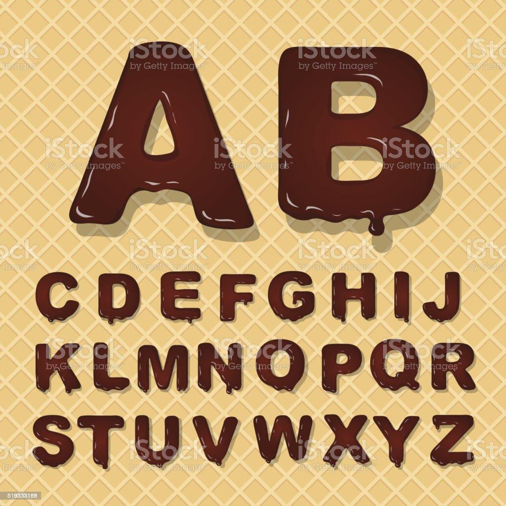 Vector latin capital alphabet made of chocolate. Font style. vector art illustration