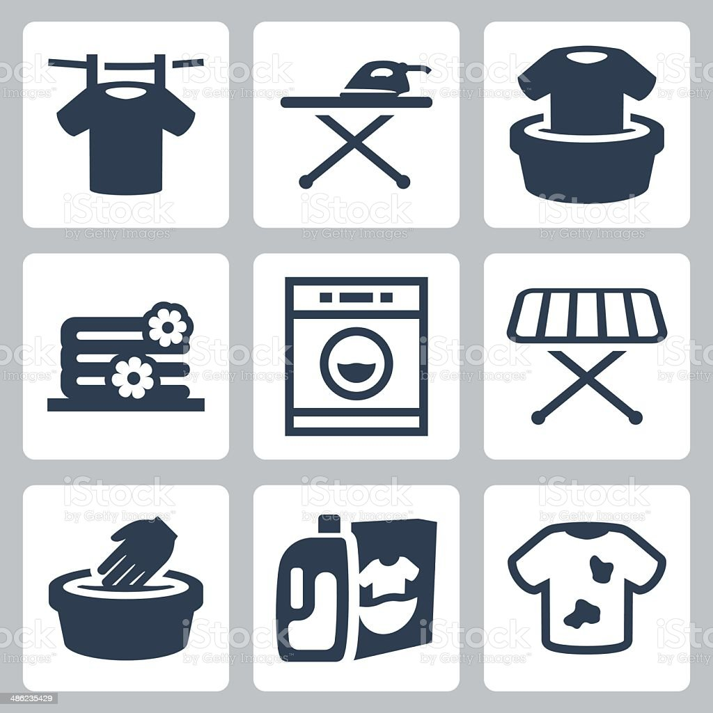 Vector laundry icons set vector art illustration