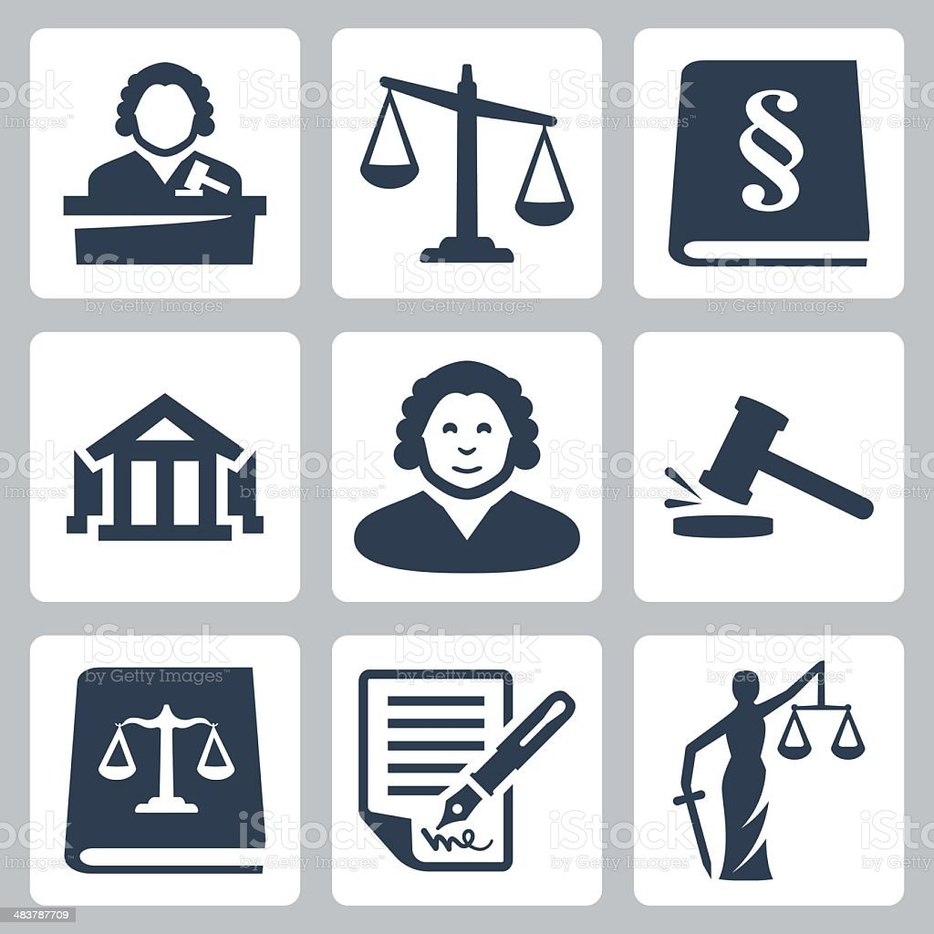 Vector law and justice icons set vector art illustration