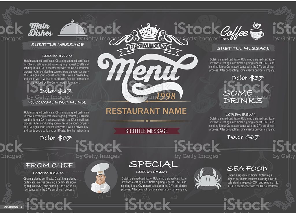 Vector layout Design menu restaurant template. vector art illustration