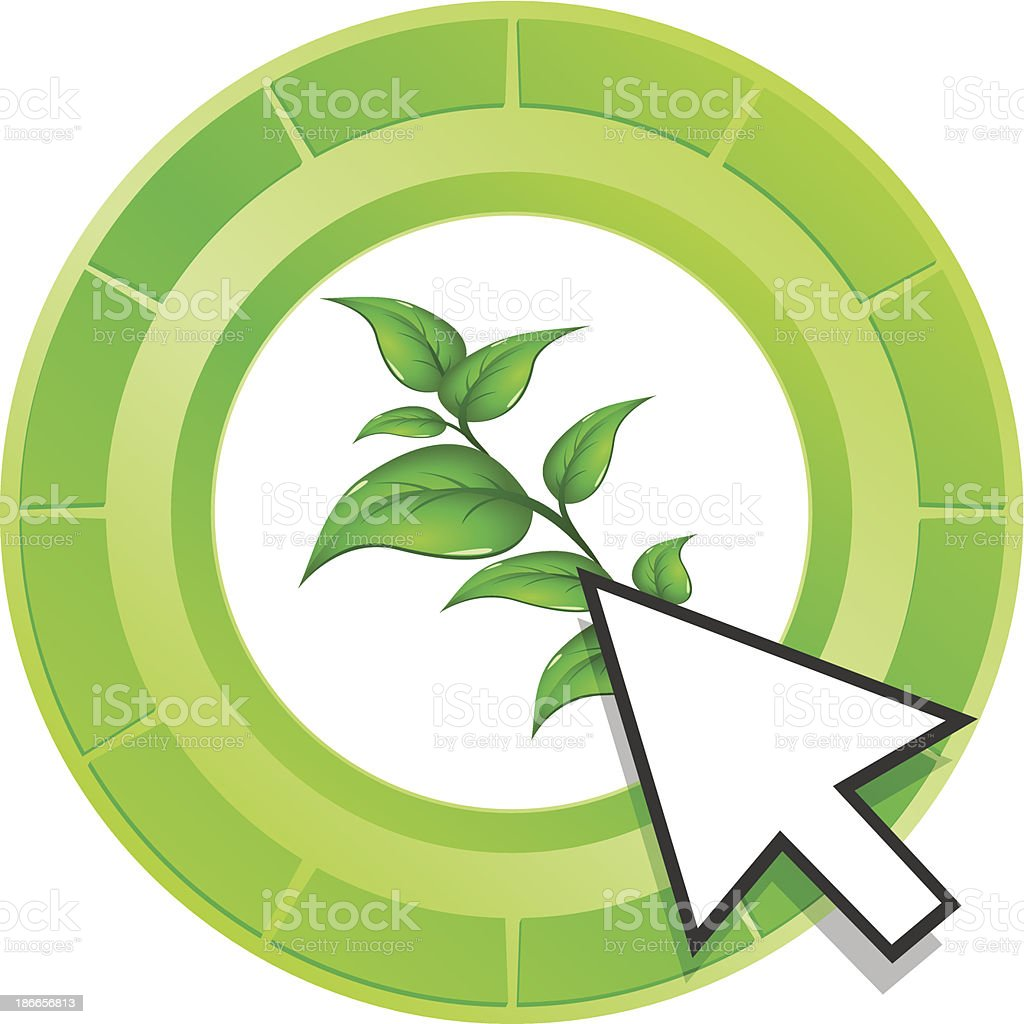 Vector leaf icon green button royalty-free stock vector art