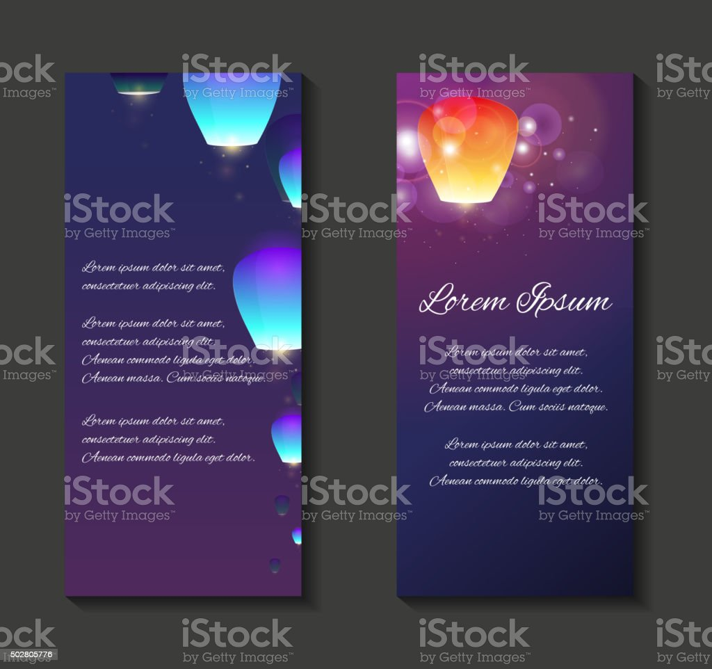 Vector leaflets, flyers, brochure template with sky lanterns vector art illustration