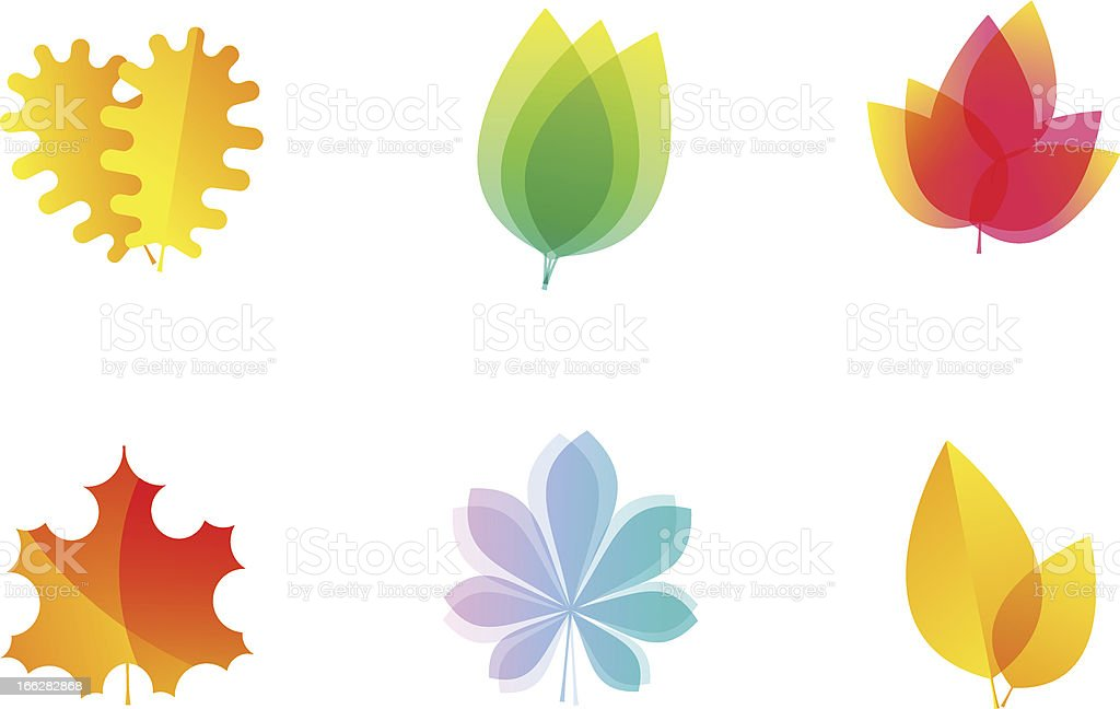 Vector leaves icons vector art illustration