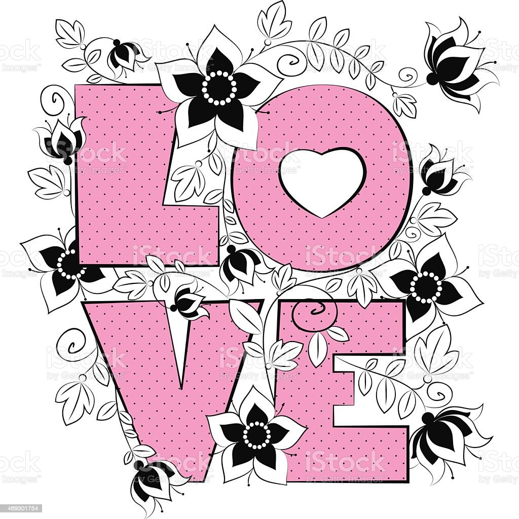 Vector Letter Love Wedding Card Stock Vector Art 469301754 Istock