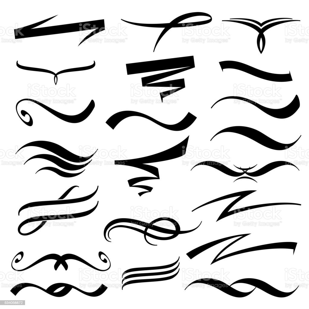 Vector lettering underlines collection vector art illustration