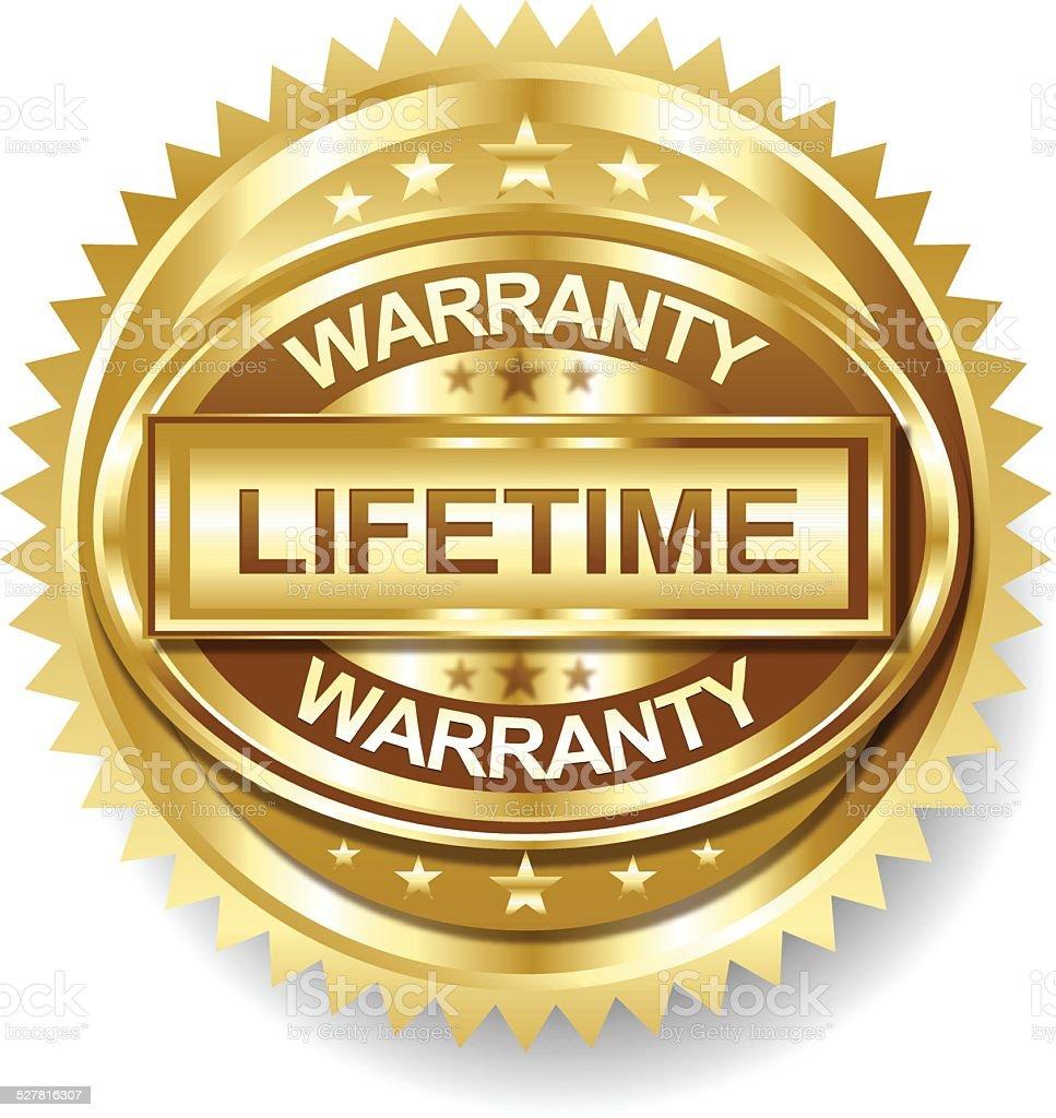 Vector Lifetime Golden warranty label tag vector art illustration
