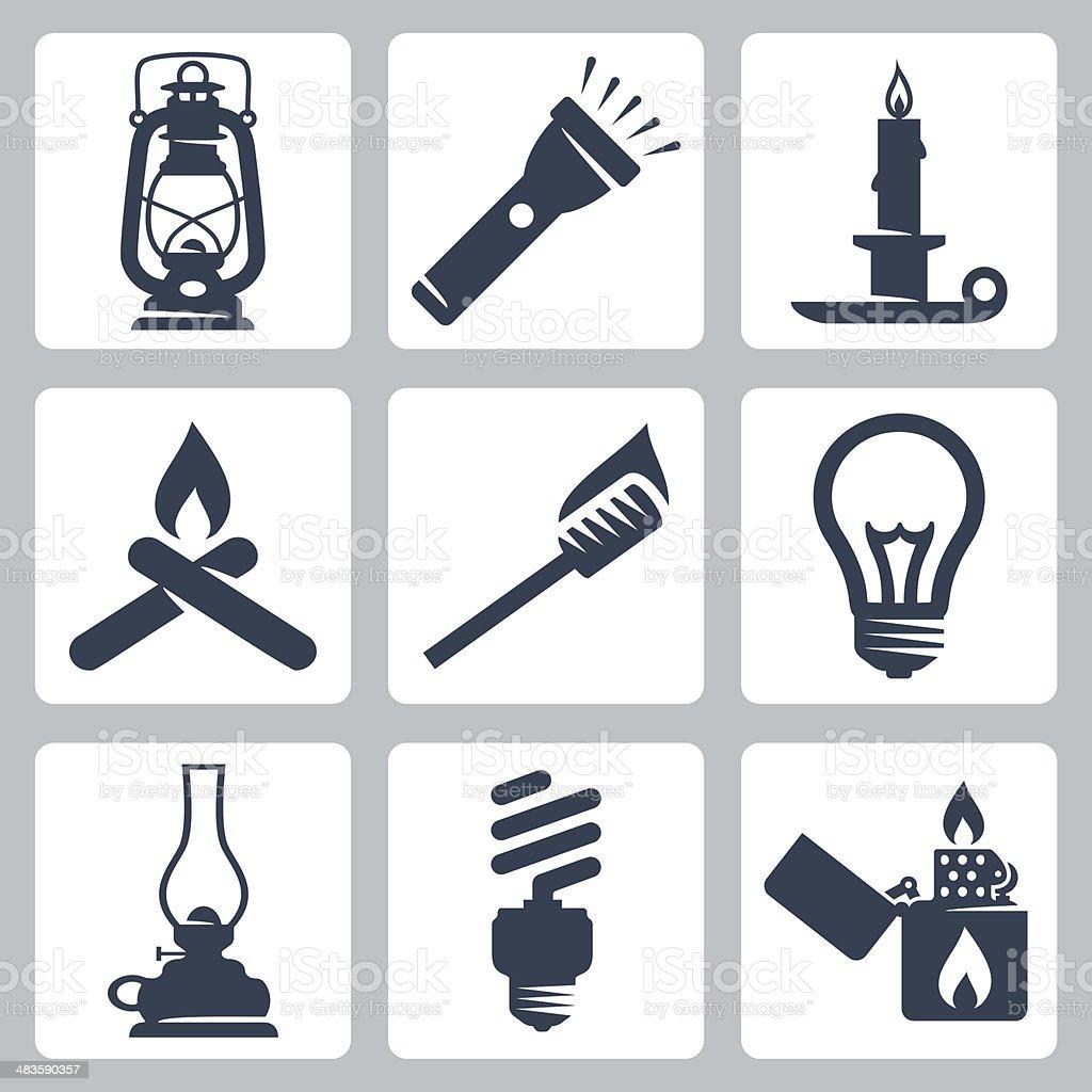 Vector light and lighting appliances icons set vector art illustration