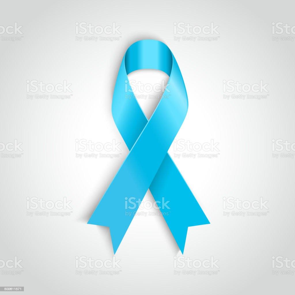 Vector Light blue ribbon as symbol of prostate cancer vector art illustration