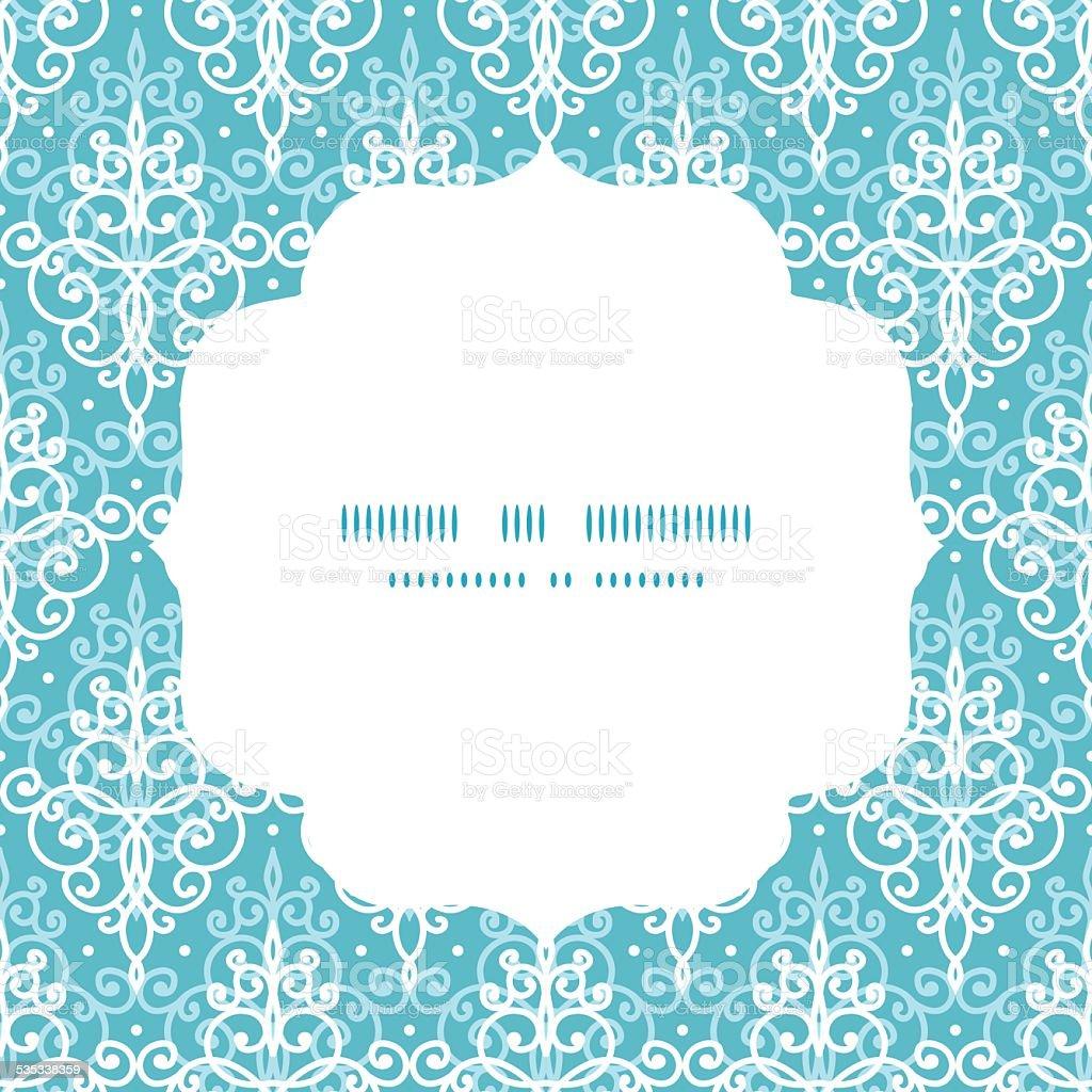Vector light blue swirls damask circle frame seamless pattern background vector art illustration