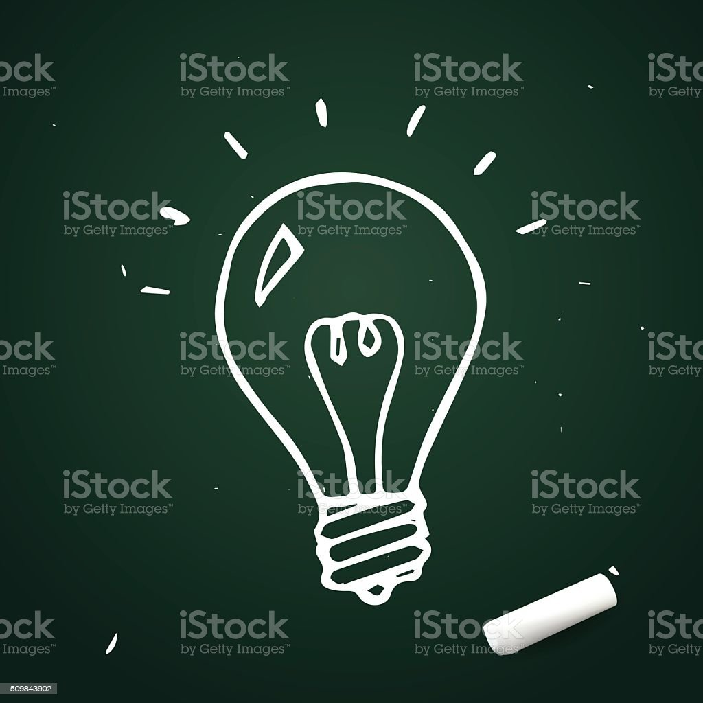 Vector light bulb hand drawn with chalk, doodle idea icon vector art illustration