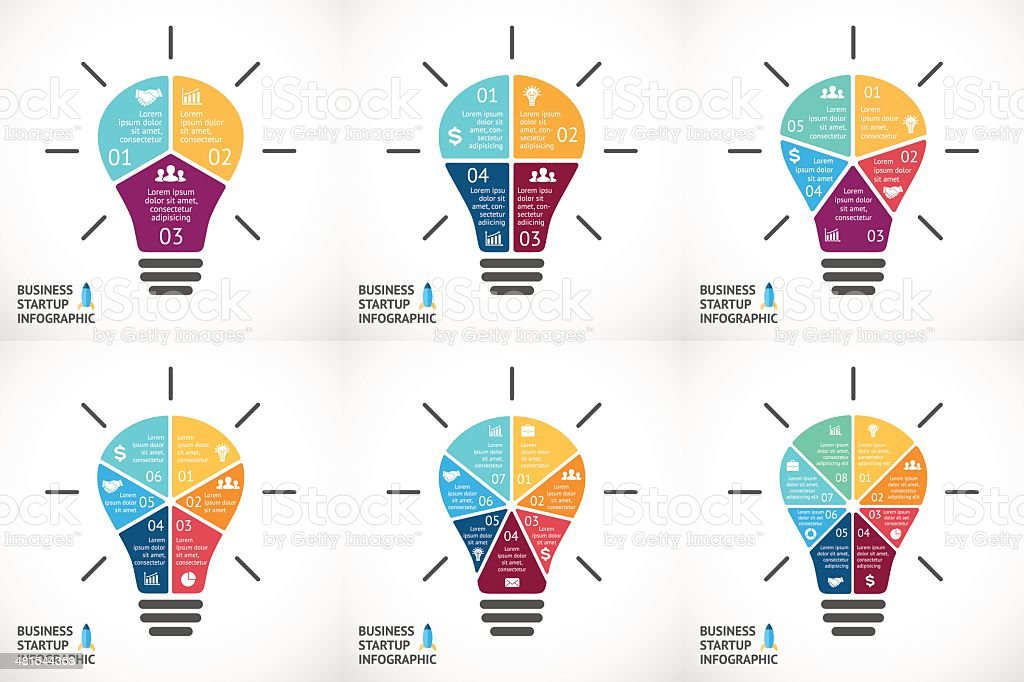 Vector light bulb infographics set. Template for circle diagram, graph royalty-free stock vector art