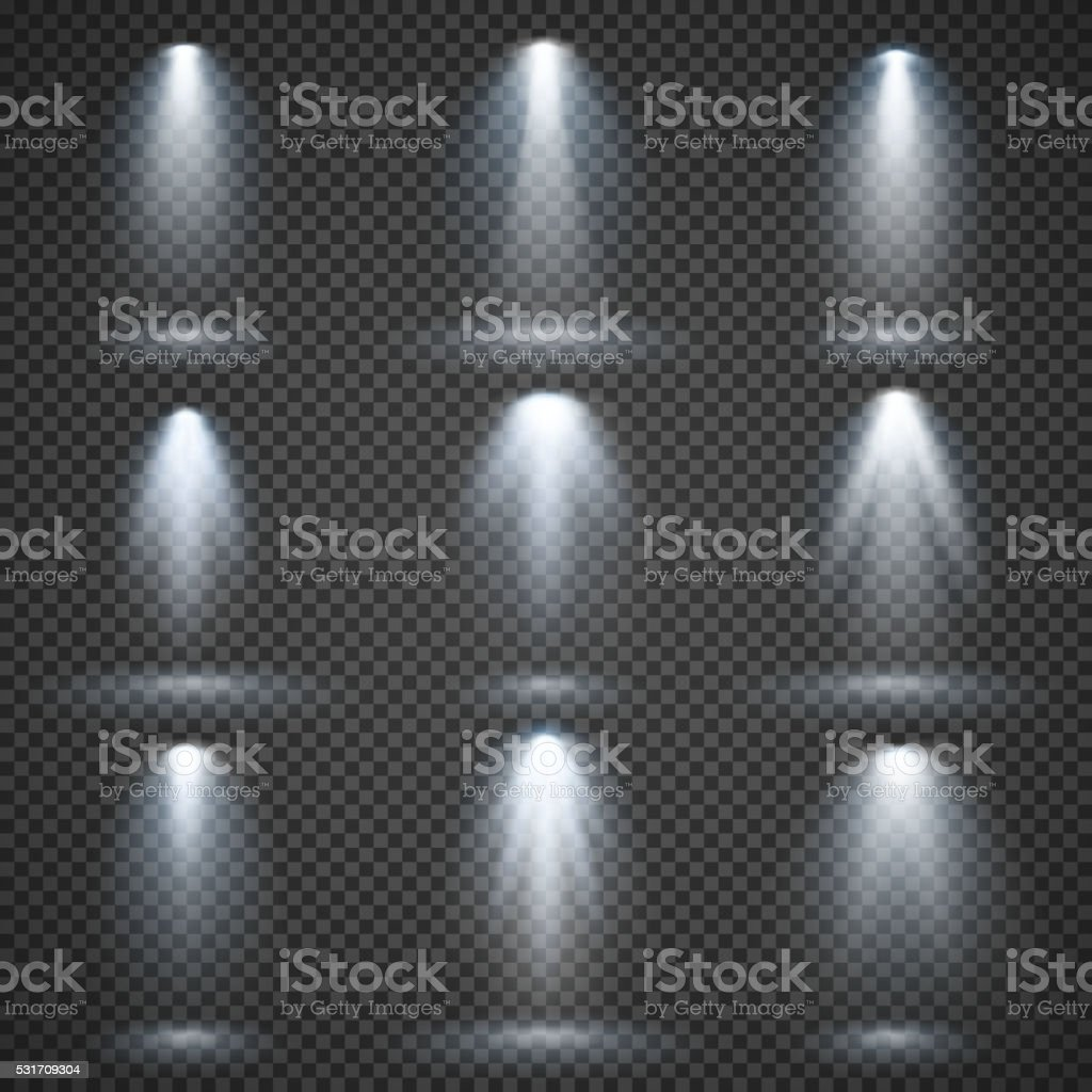 Vector light sources, concert lighting, stage spotlights set vector art illustration