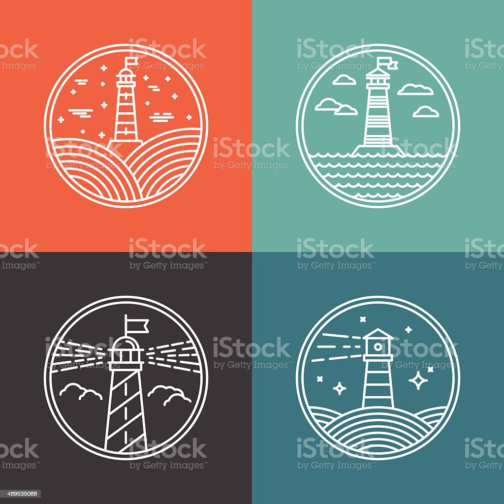 Vector lighthouse logos vector art illustration