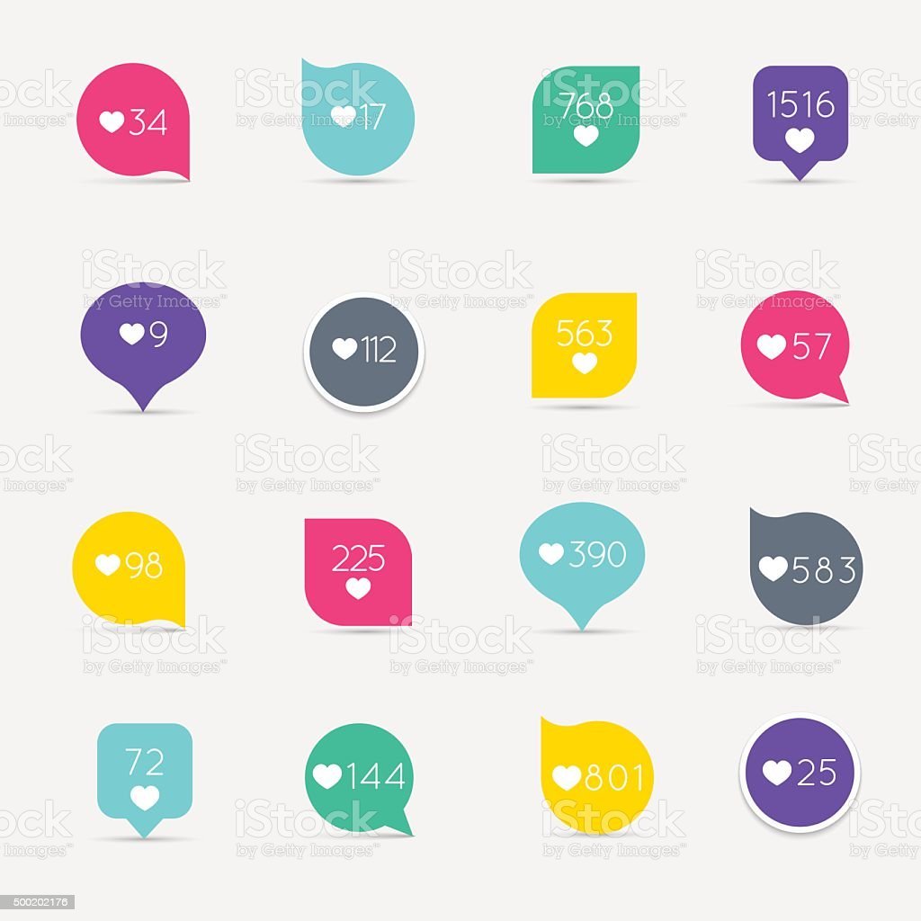 Vector Like Counter button icon set. Communication and network, vector art illustration