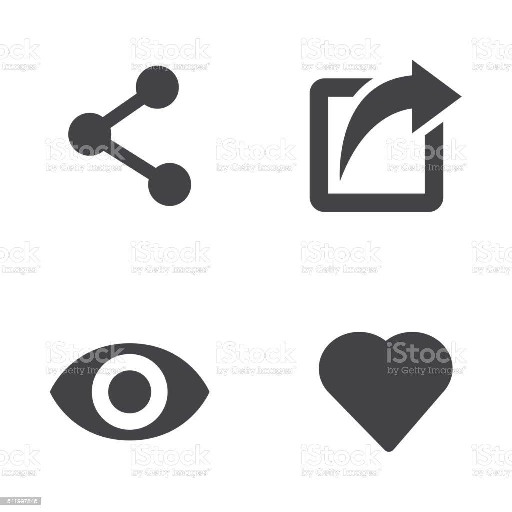 Vector like share view icon set vector art illustration