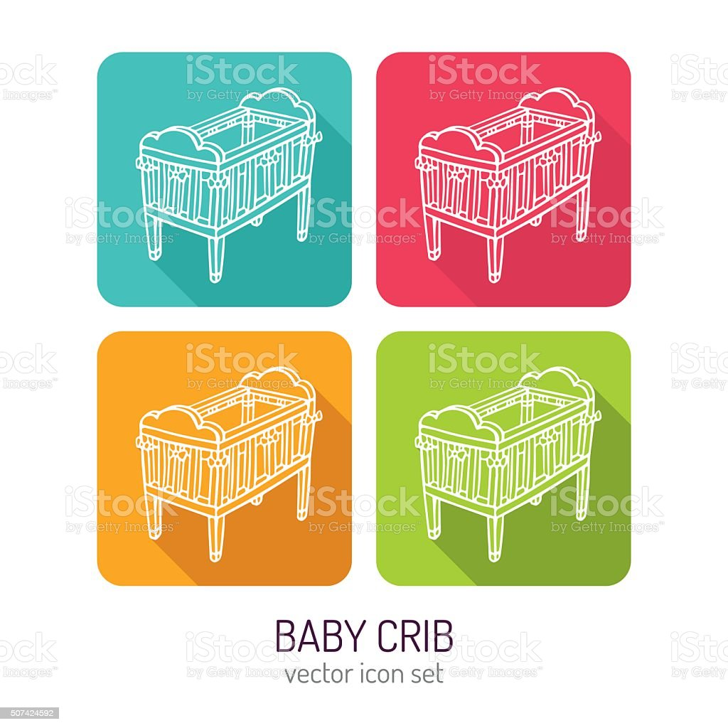Vector line art baby crib icon set vector art illustration