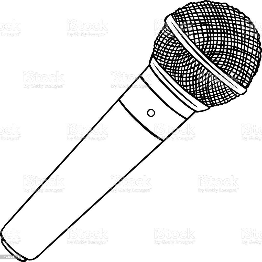 Line Art Microphone : 벡터 라인아트 dinamic 마이크 일러스트 istock