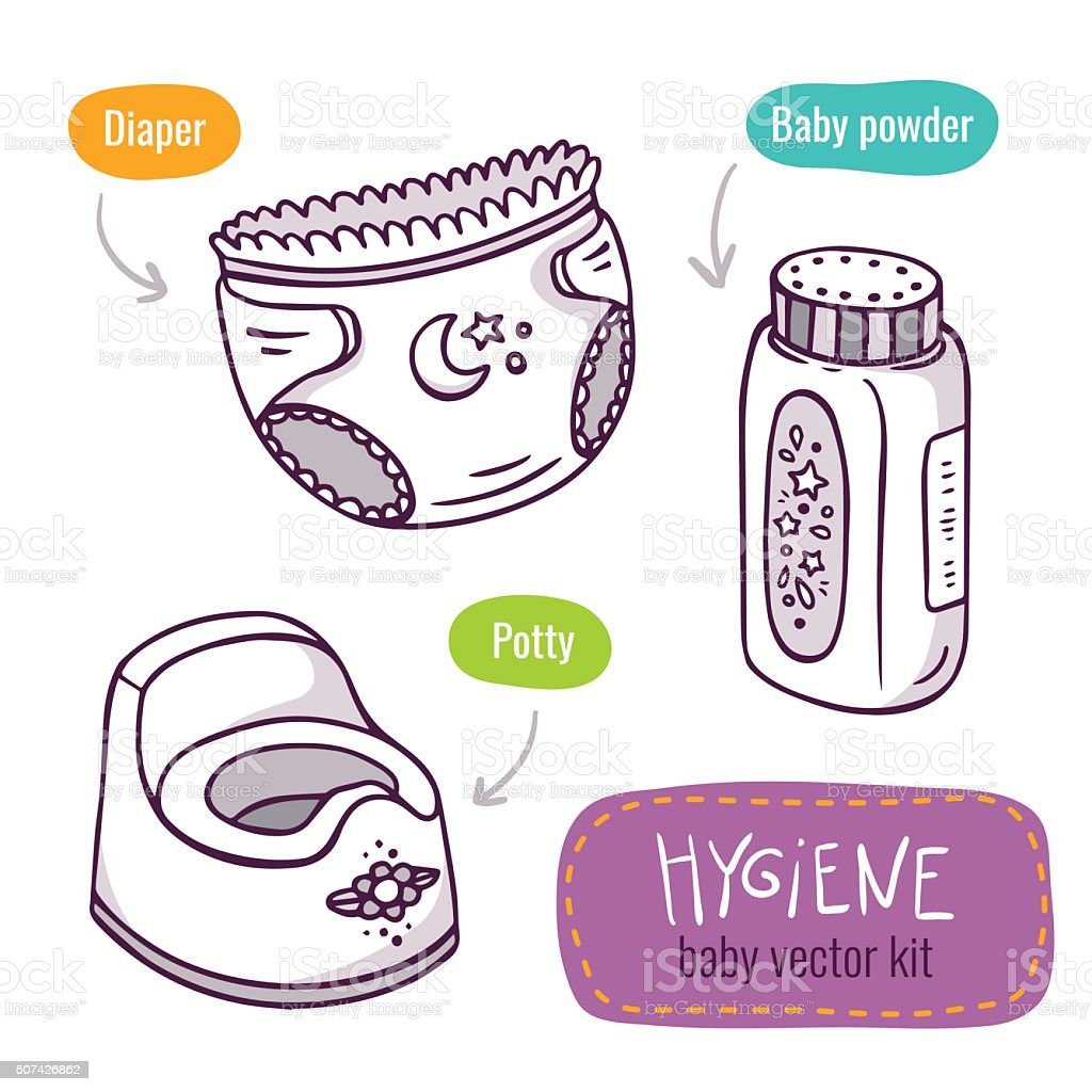 Vector line art icon set with baby products for hygiene vector art illustration