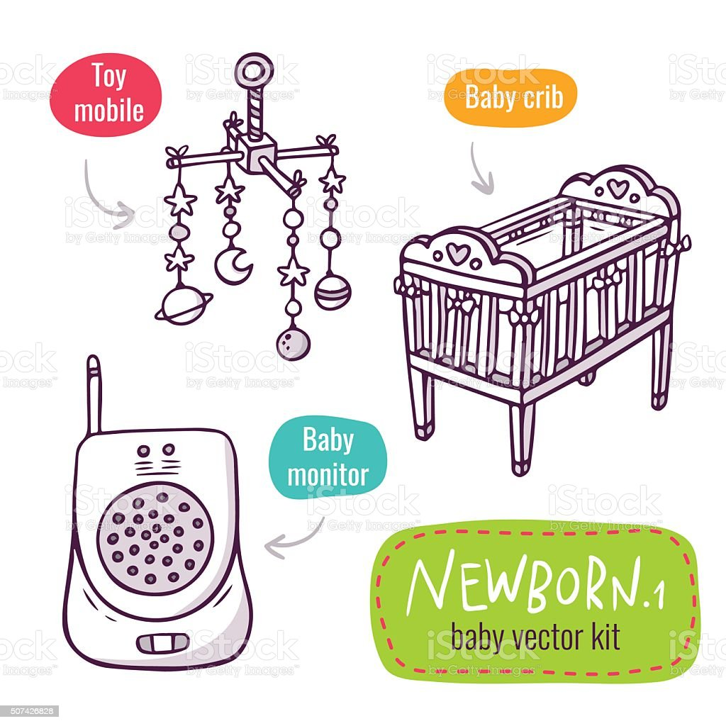 Vector line art icon set with baby products for newborns vector art illustration