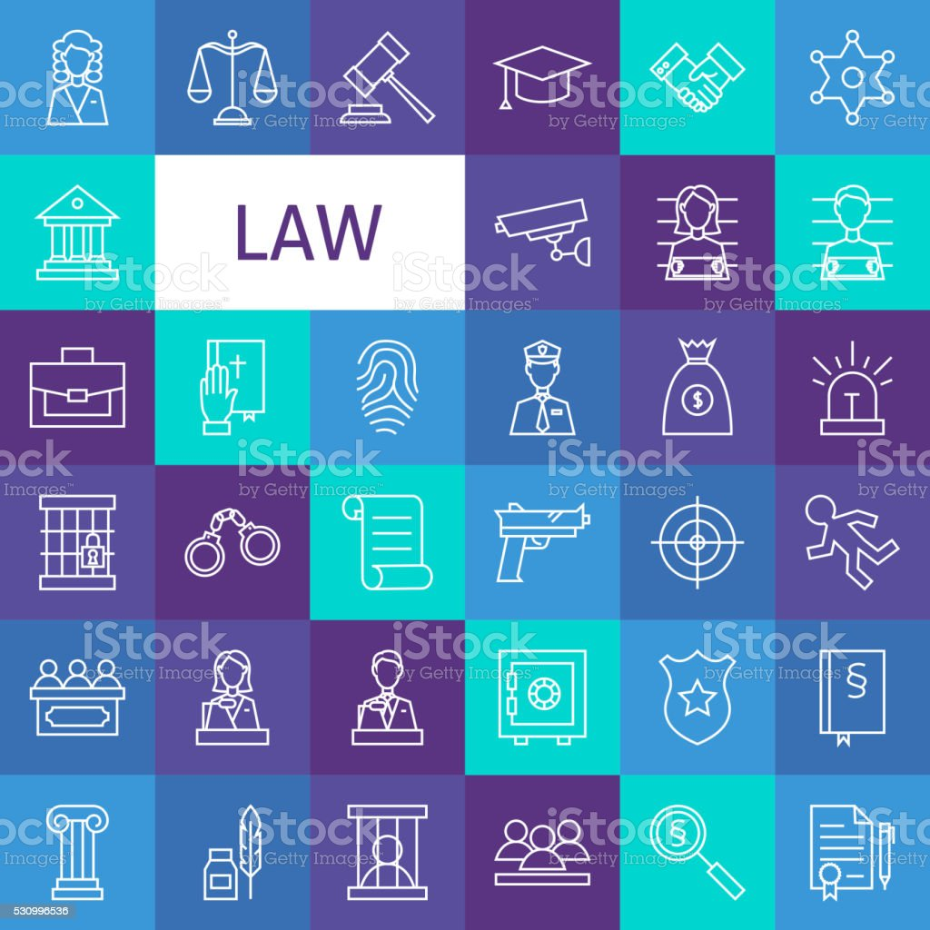 Vector Line Art Law and Justice Icons Set vector art illustration