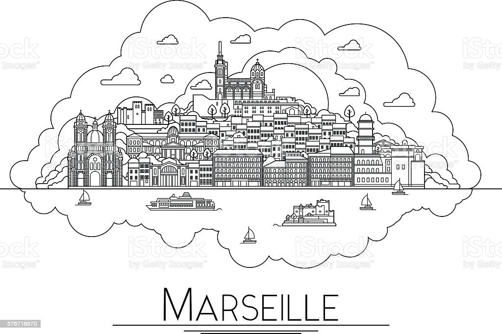 Vector line art Marseille, France, travel landmarks and architecture icon vector art illustration