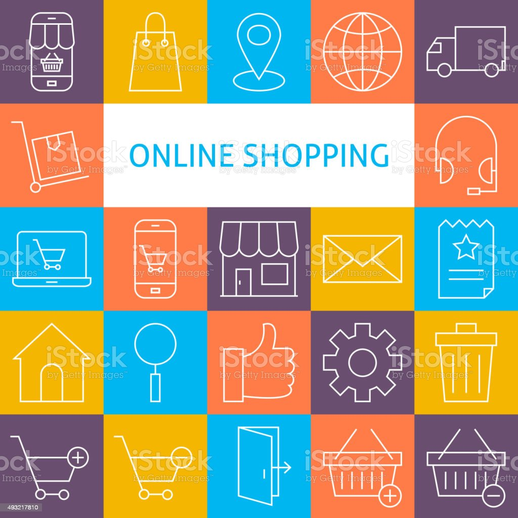 Vector Line Art Modern Online Shopping Icons Set vector art illustration