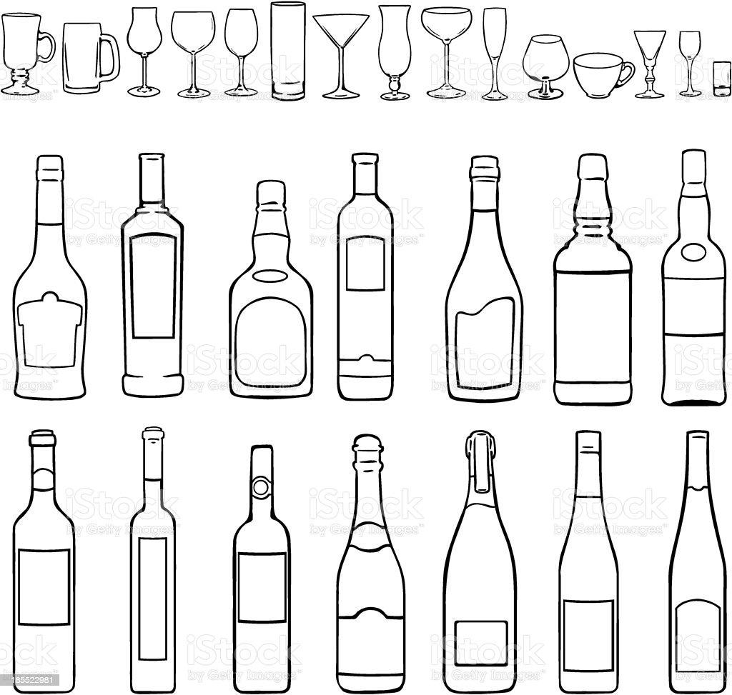 vector line art set - bottles and stemware vector art illustration