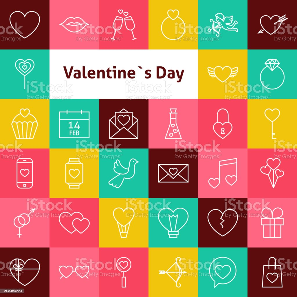Vector Line Art Valentine Day Icons Set vector art illustration