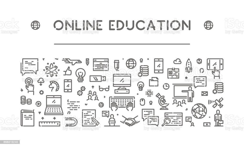 Vector line banner for online education vector art illustration