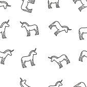Vector line black unicorn pattern