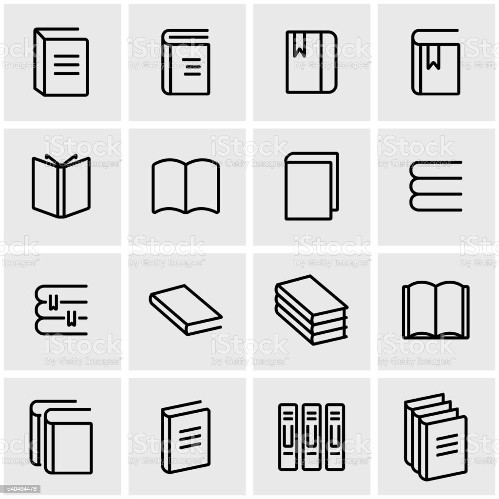 Vector line book icon set vector art illustration