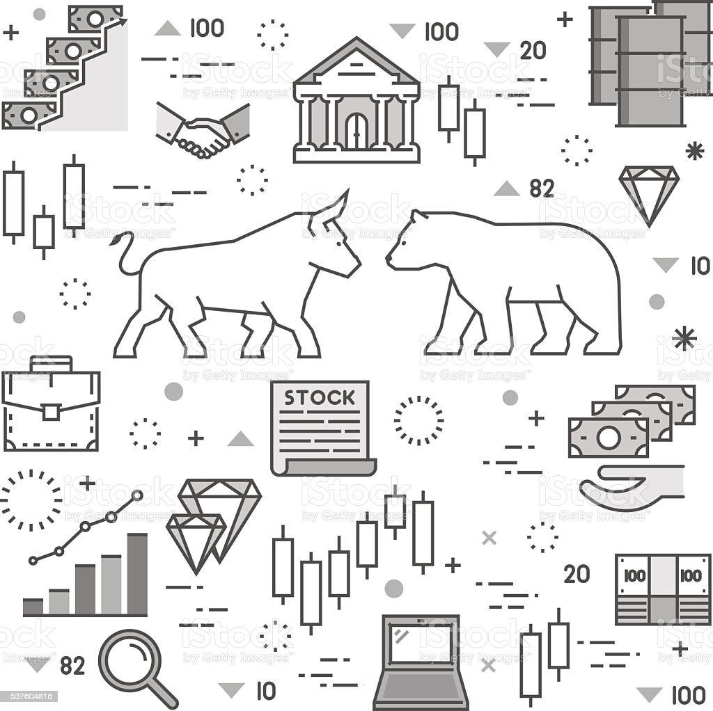 Vector line concept of stock market. vector art illustration