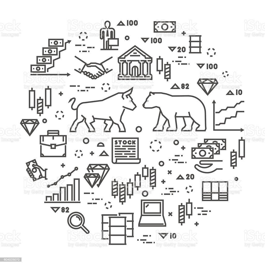 Vector line concept stock exchange. vector art illustration