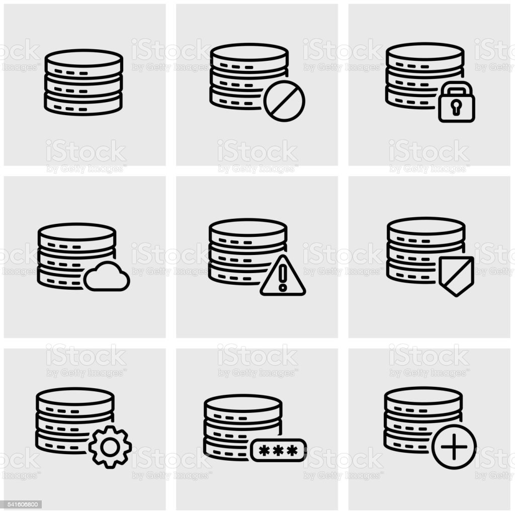 Vector line database icon set vector art illustration