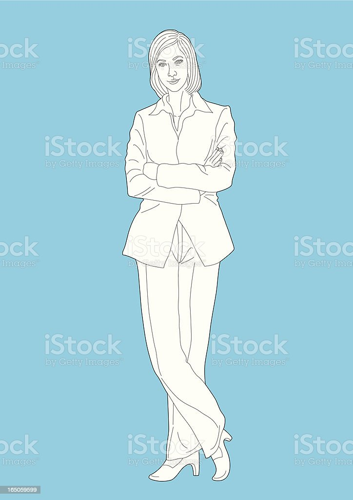 Vector - Line Drawing of a Businesswoman Standing Arms Corssed royalty-free stock vector art