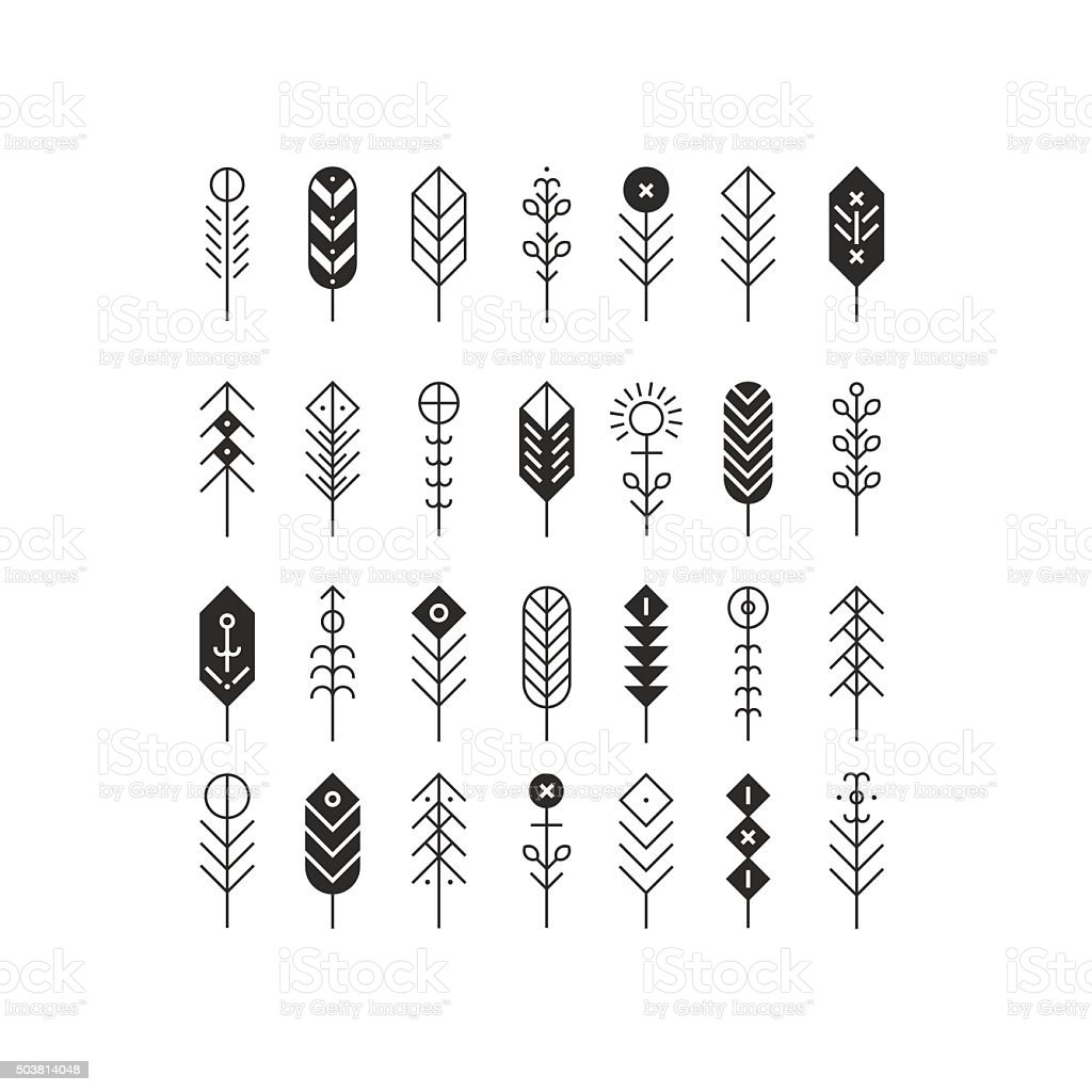 Vector line feathers and arrows vector art illustration