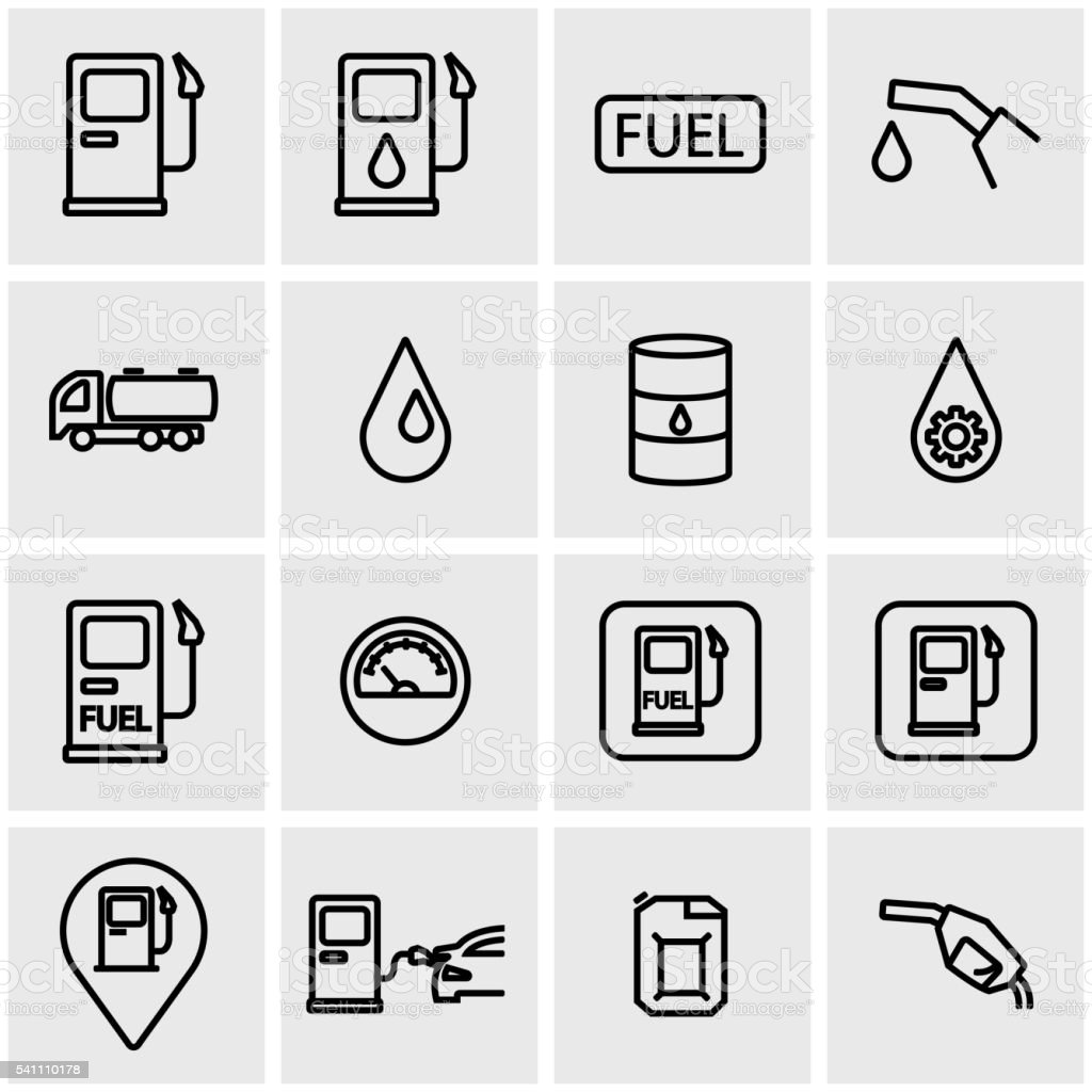 Vector line gas station icon set vector art illustration