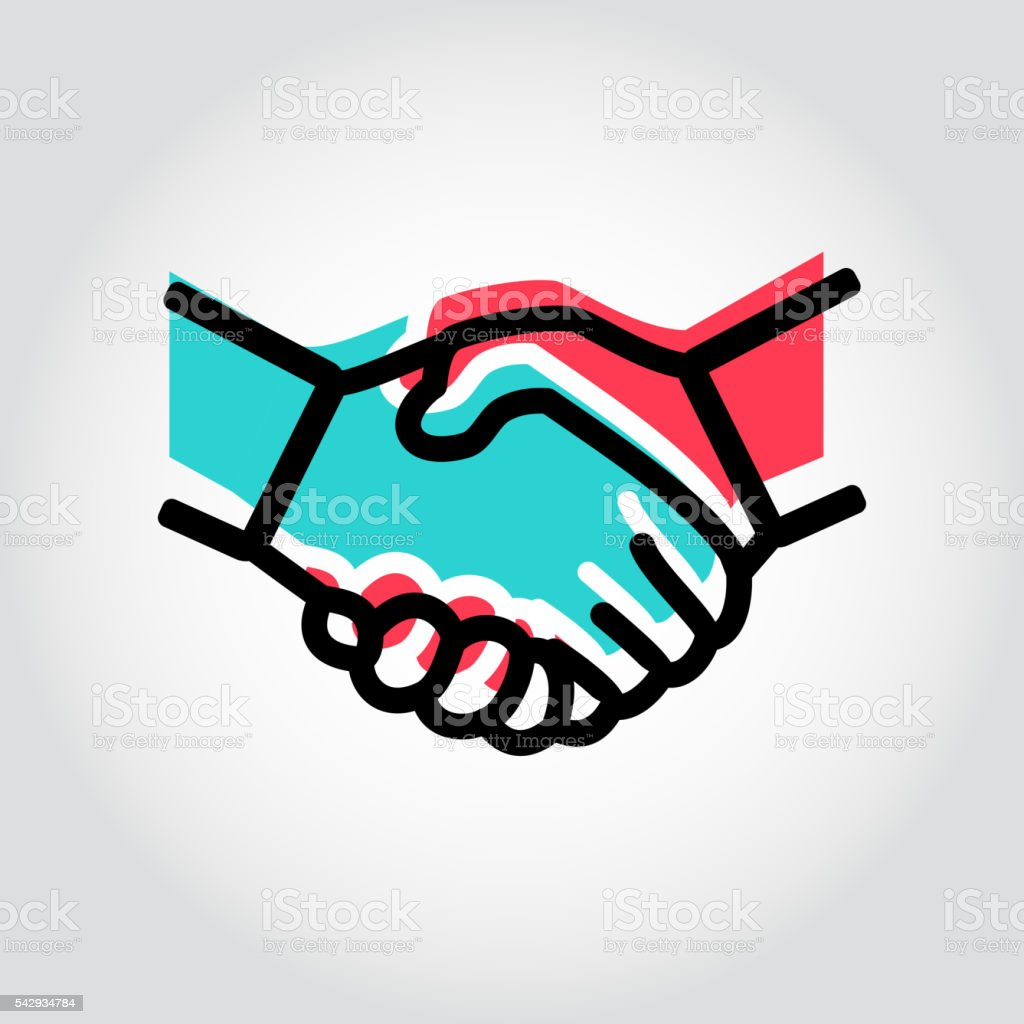 Vector line handshake icon vector art illustration