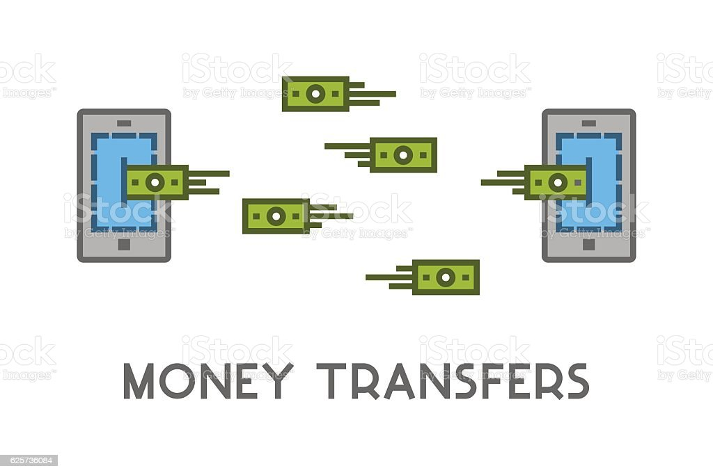 Vector line icon money transfer. vector art illustration