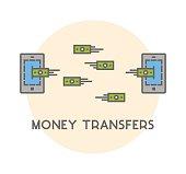Vector line icon money transfer
