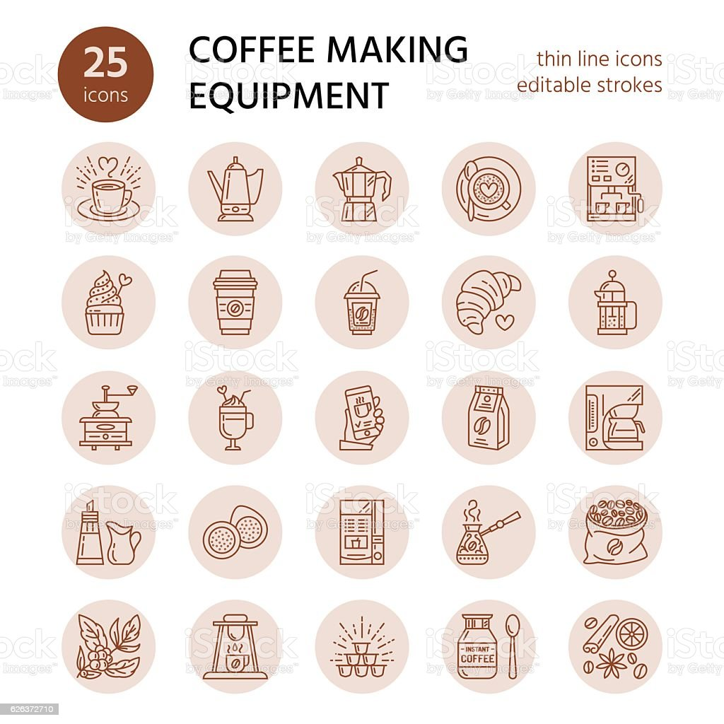 Vector line icons of coffee making equipment. Elements - moka vector art illustration