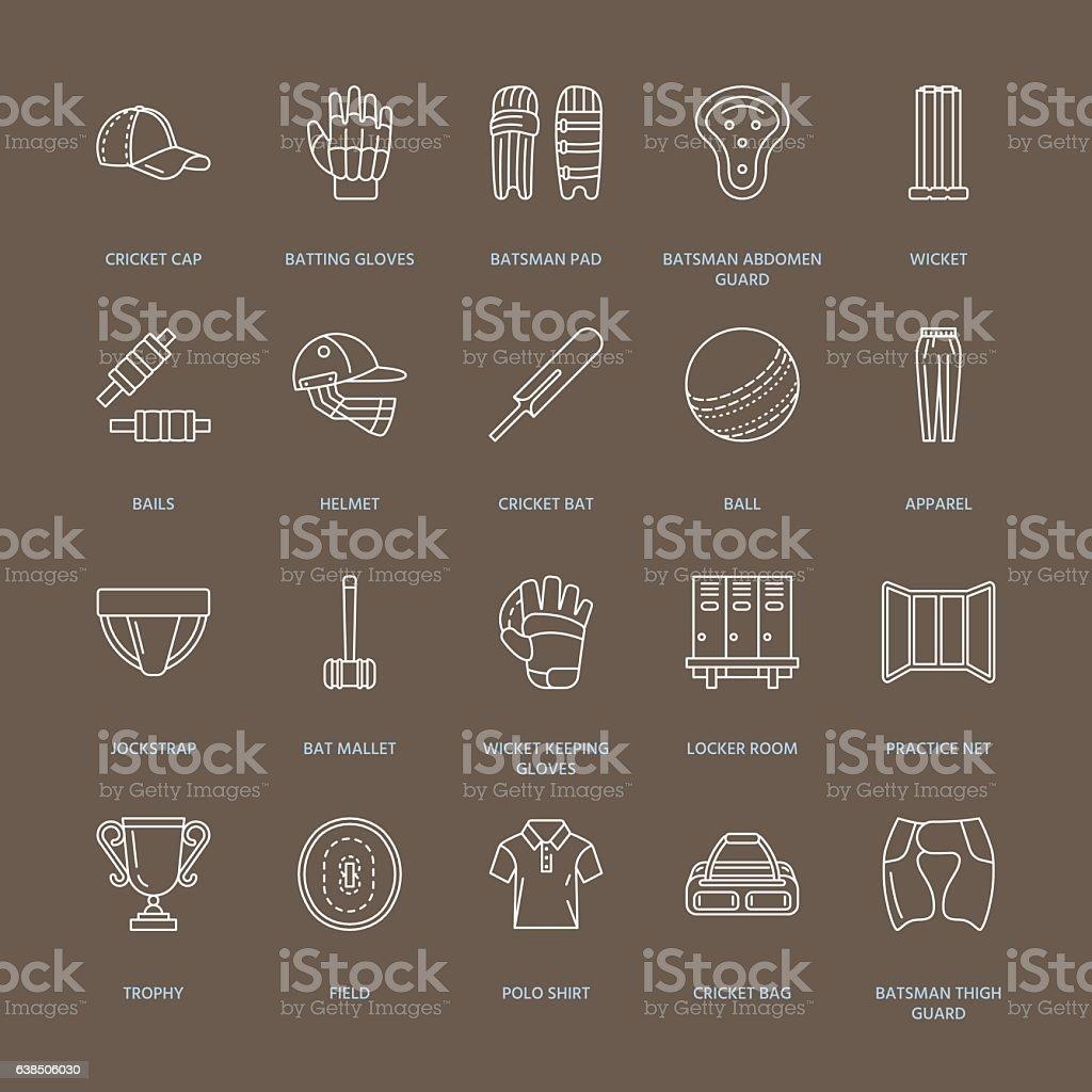 Vector line icons of cricket sport game. Ball, bat, wicket vector art illustration
