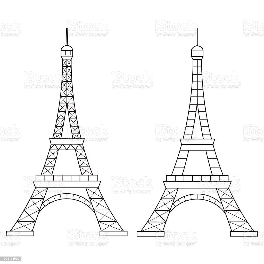 Line Art Eiffel Tower : Vector line illustration of eiffel tower paris stock