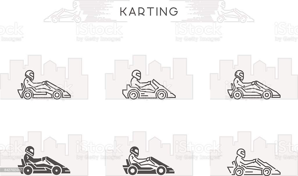 Vector line karting symbol with open path vector art illustration