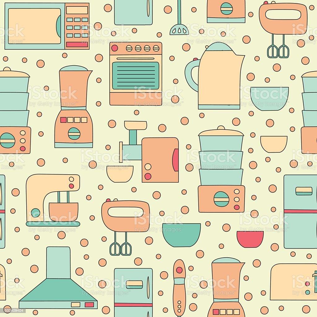 Uncategorized Kitchen Appliances On Credit vector line kitchen appliances background stock art royalty free art